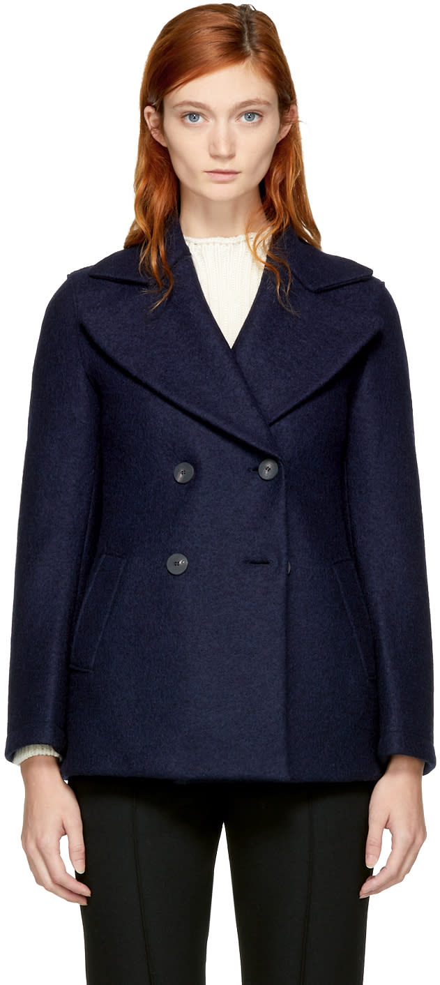 Image of Harris Wharf London Navy Wool Short Peacoat