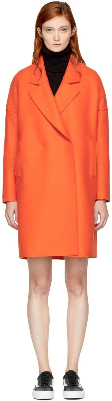 Image of Harris Wharf London Orange Wool Wide Lapel Coat
