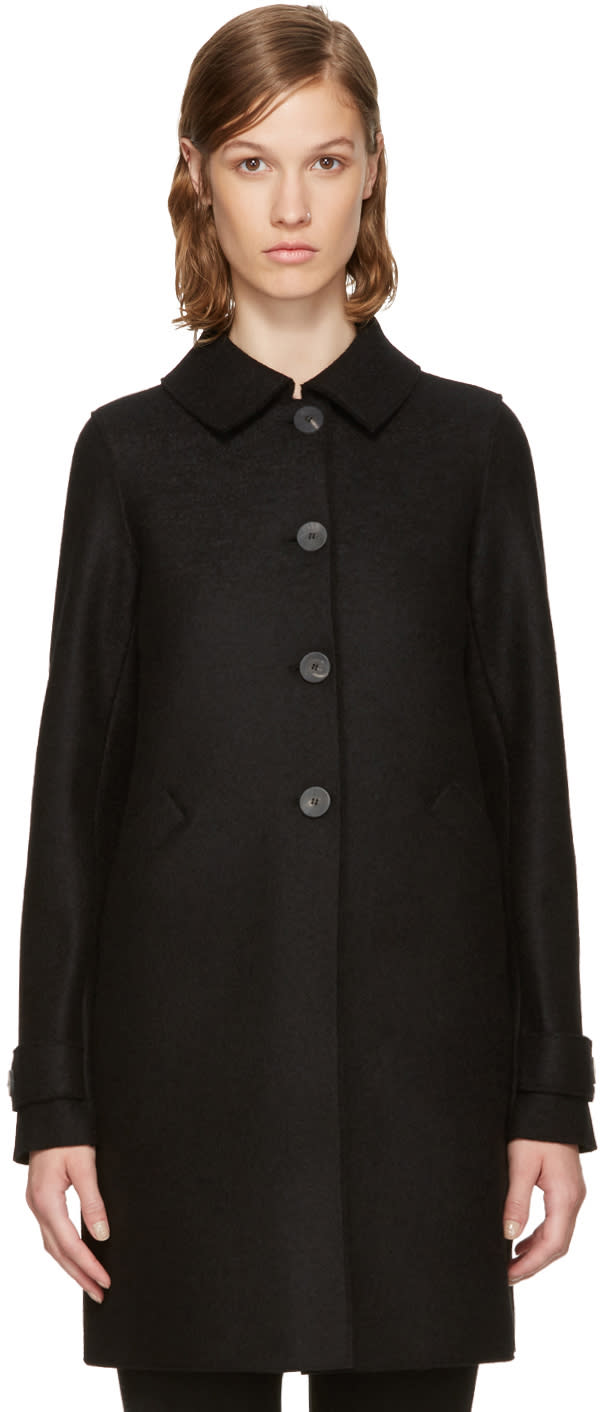 Image of Harris Wharf London Black Wool Loden Coat