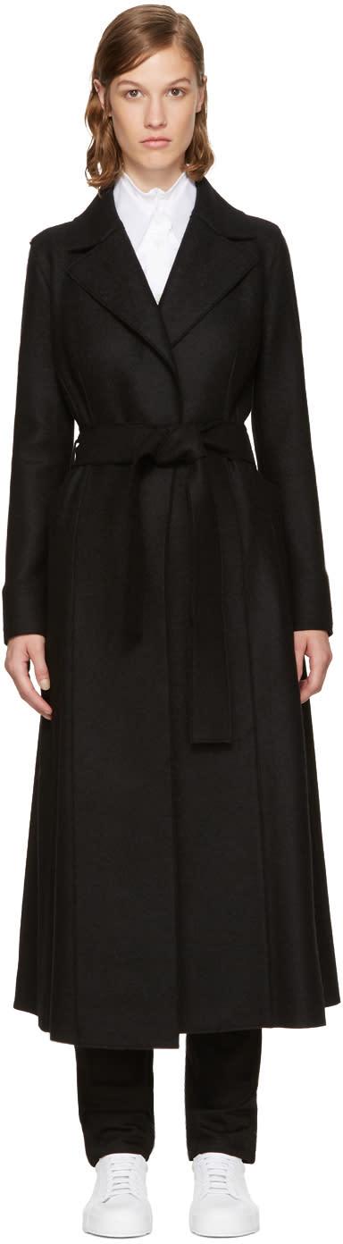Image of Harris Wharf London Black Wool Long Duster Coat