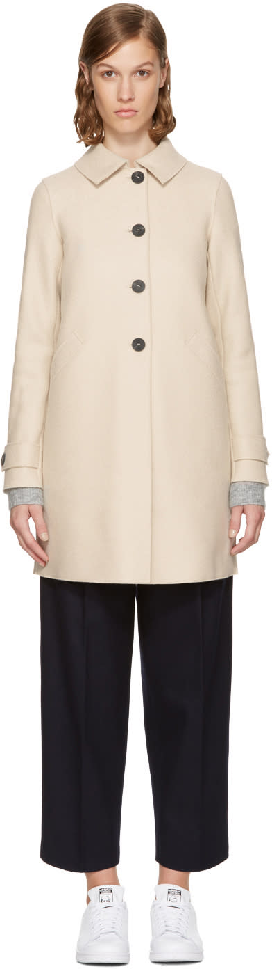 Image of Harris Wharf London Beige Wool Loden Coat