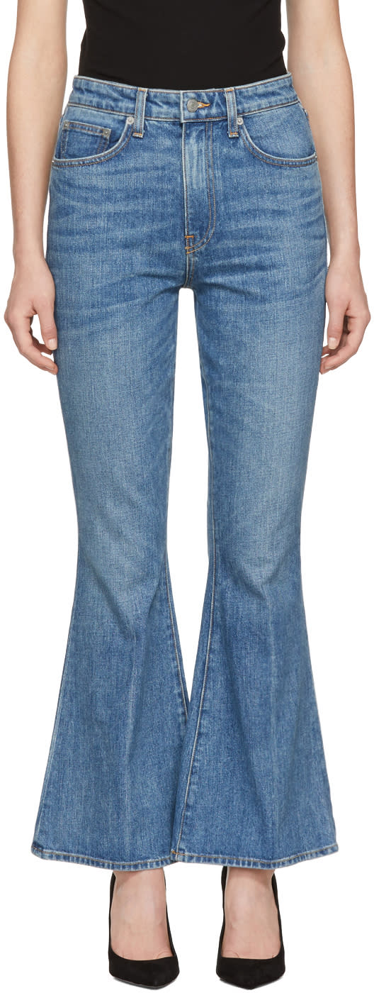 Image of Brock Collection Blue Belle Cropped Flare Jeans