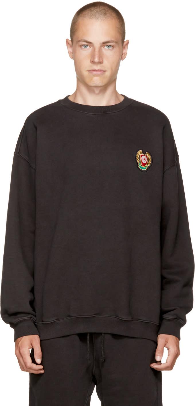 Image of Yeezy Black Crest Logo calabasas Sweatshirt