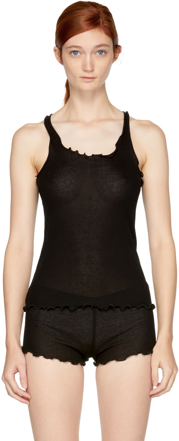Image of Araks Black Micro Rib Kinee Tank Top