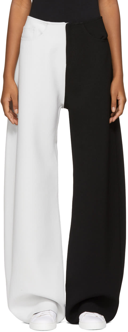 Image of Marques Almeida Black and White Contrast Boyfriend Trousers