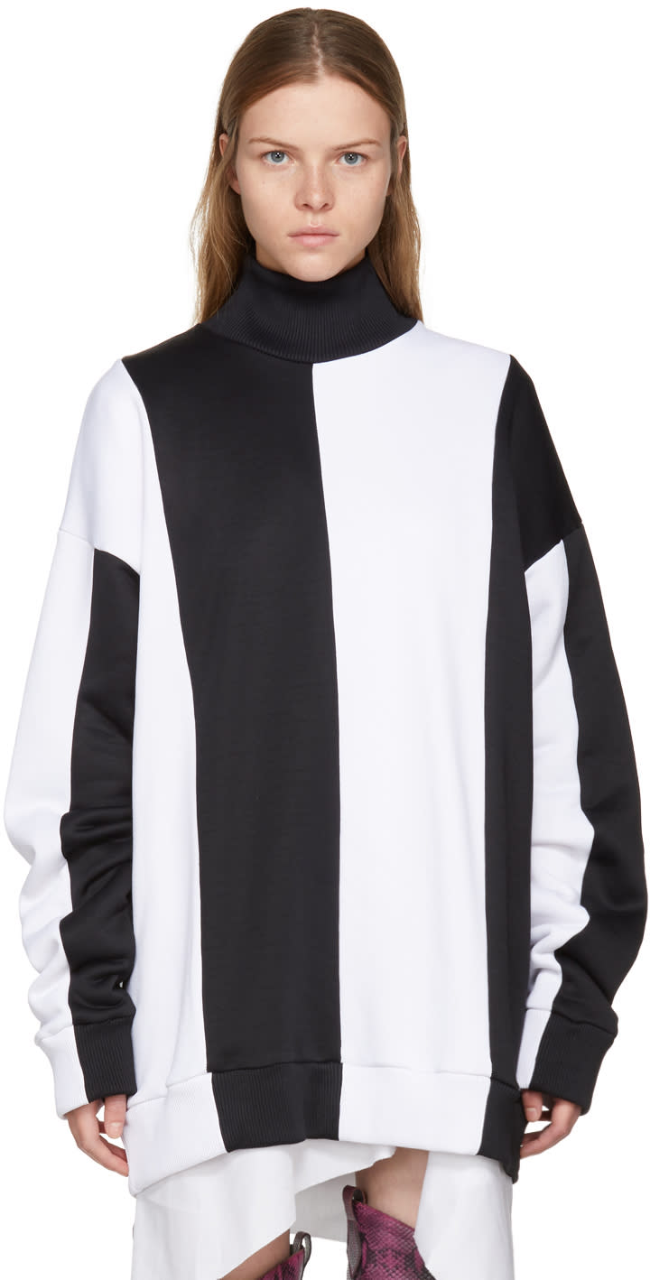 Image of Marques Almeida Black and White Colorblocked Turtleneck