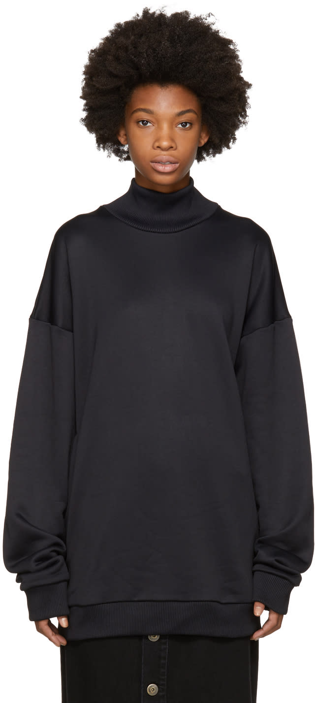 Image of Marques Almeida Black French Terry Turtleneck