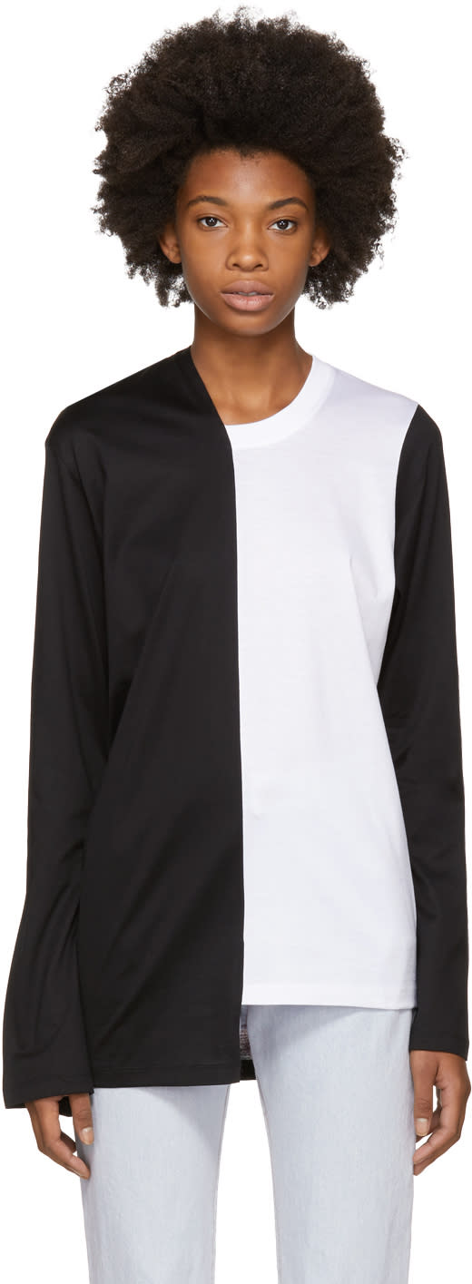 Image of Marques Almeida Black and White Bell Bottom Sleeve T-shirt