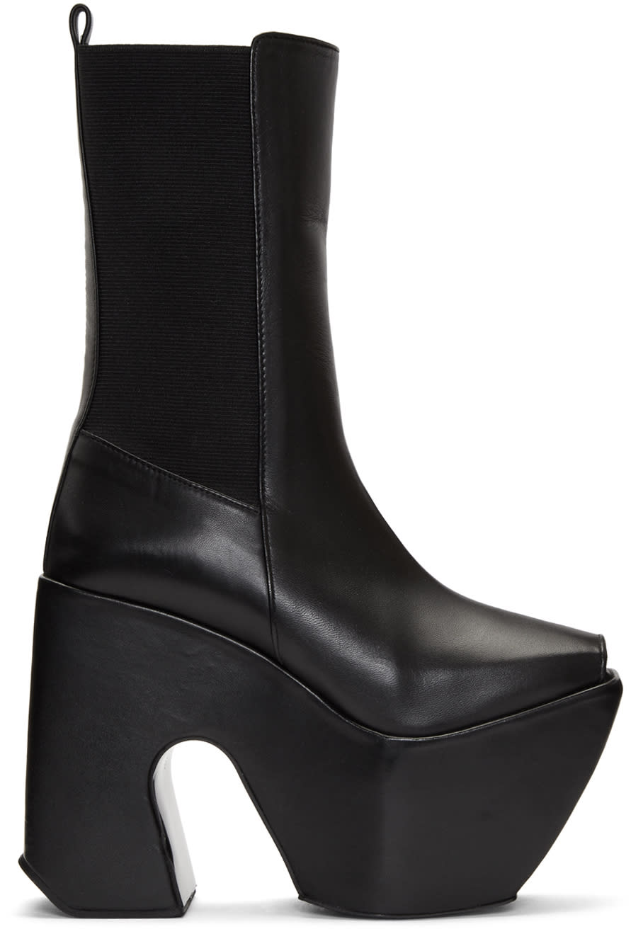 Image of Marques Almeida Black Open Toe Platform Boots