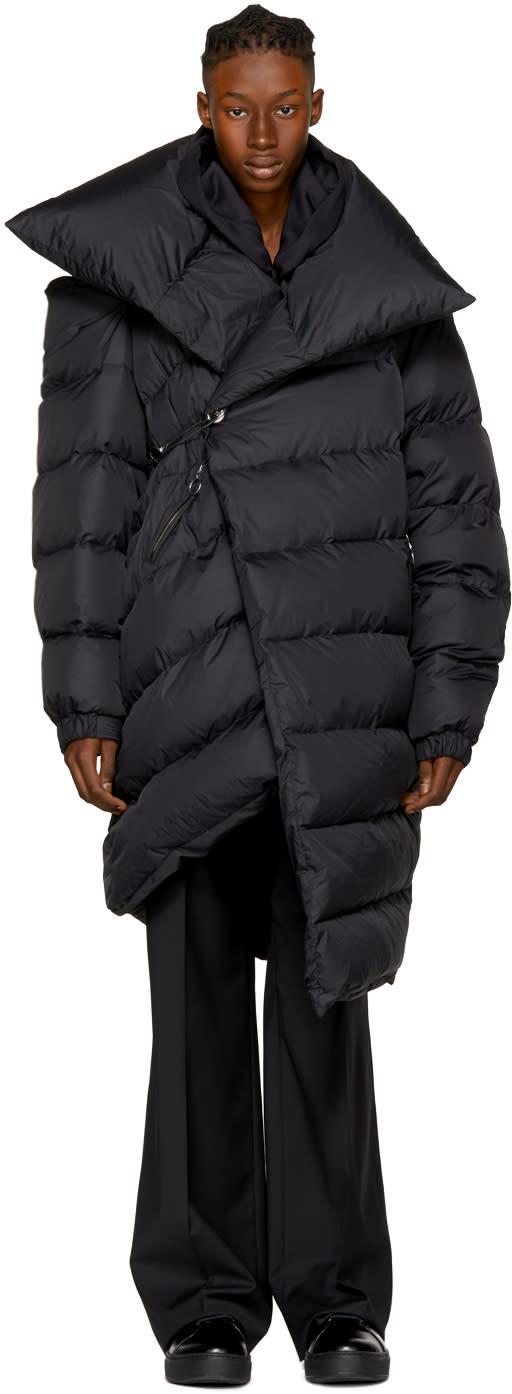 Image of Marques Almeida Black Down Long Asymmetric Puffer Coat
