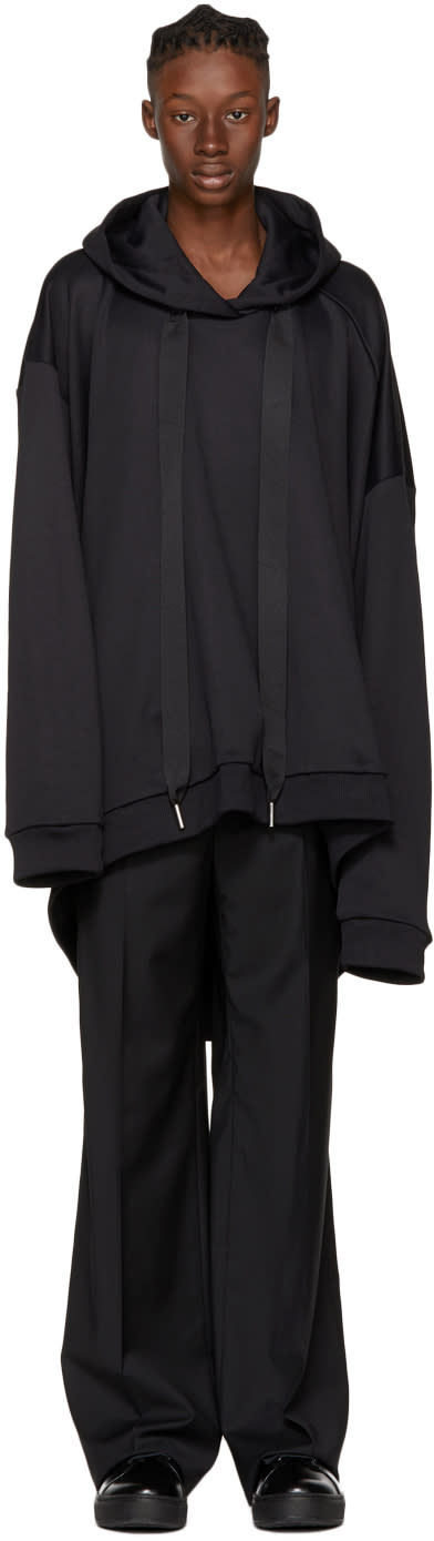 Image of Marques Almeida Black Asymmetric Hoodie