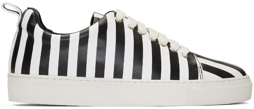 Image of Marques Almeida Black and White Striped Leather Classic Sneakers