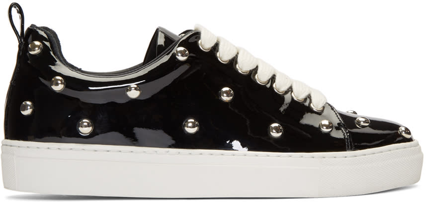 Image of Marques Almeida Black Patent Studded Sneakers
