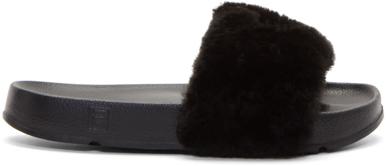 Image of Baja East Black Fila Edition Shearling Drifter Slides
