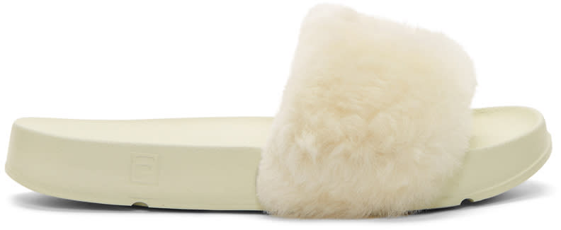 Baja East Ivory Fila Edition Shearling Drifter Slides