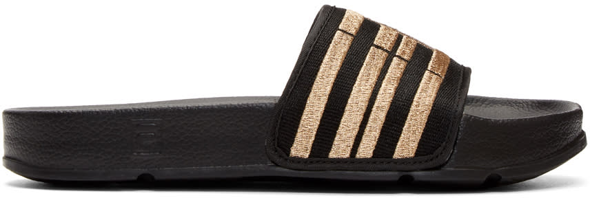 Image of Baja East Black and Gold Fila Edition Drifter Slides