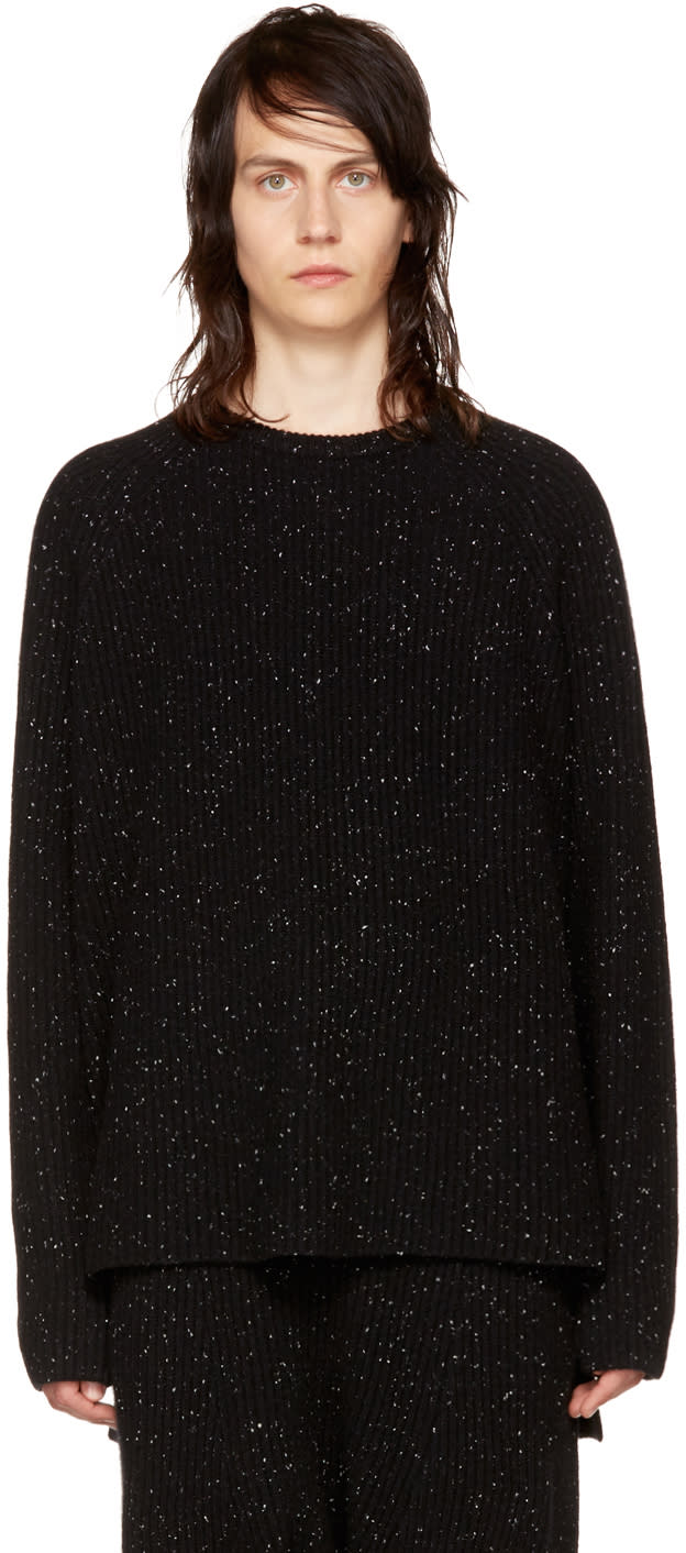 Image of Baja East Black Rib Cashmere Fisherman Sweater