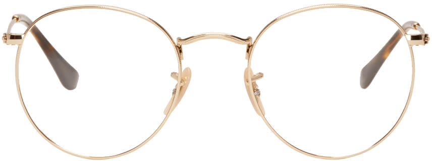 Ray-ban Gold Round Glasses