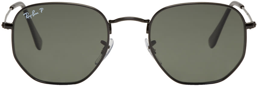 Image of Ray-ban Black Hexagonal Flat Sunglasses