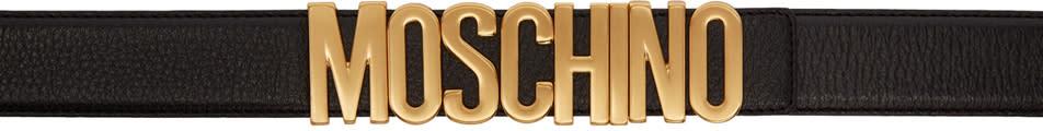 Image of Moschino Black Leather Logo Belt
