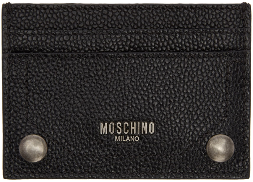 Image of Moschino Black Leather Card Holder