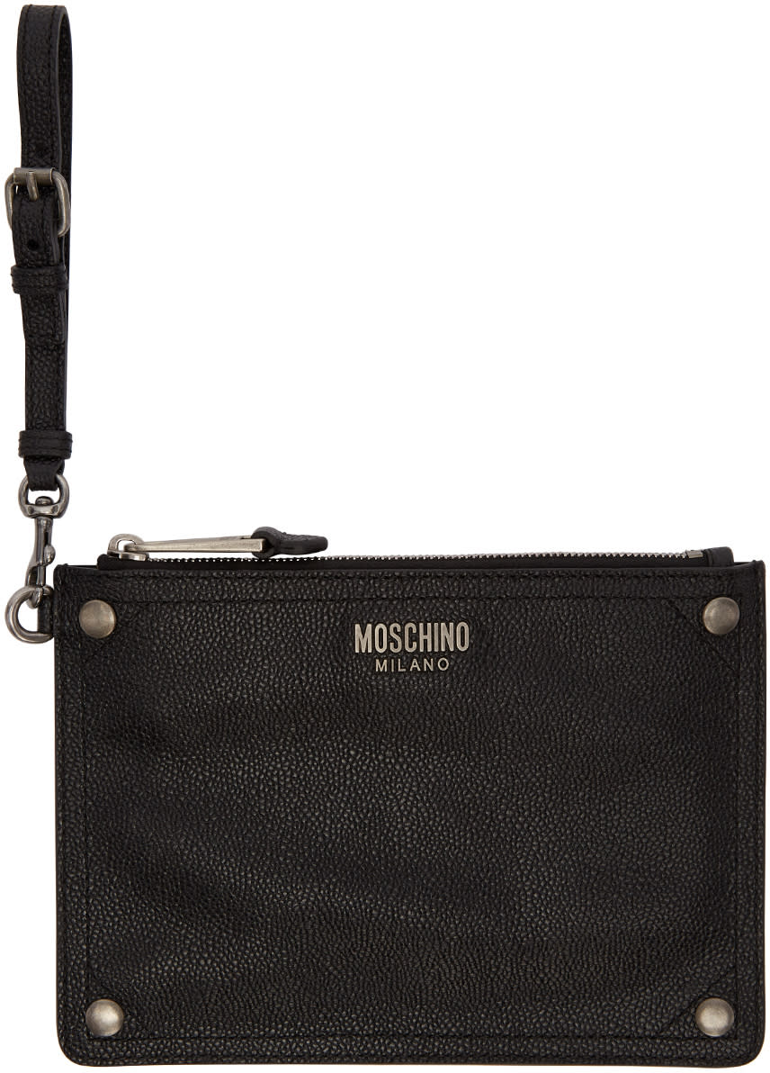 Image of Moschino Black Leather Pouch