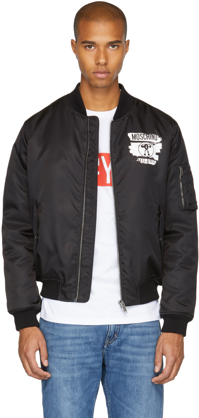 Image of Moschino Black milano Paint Bomber Jacket