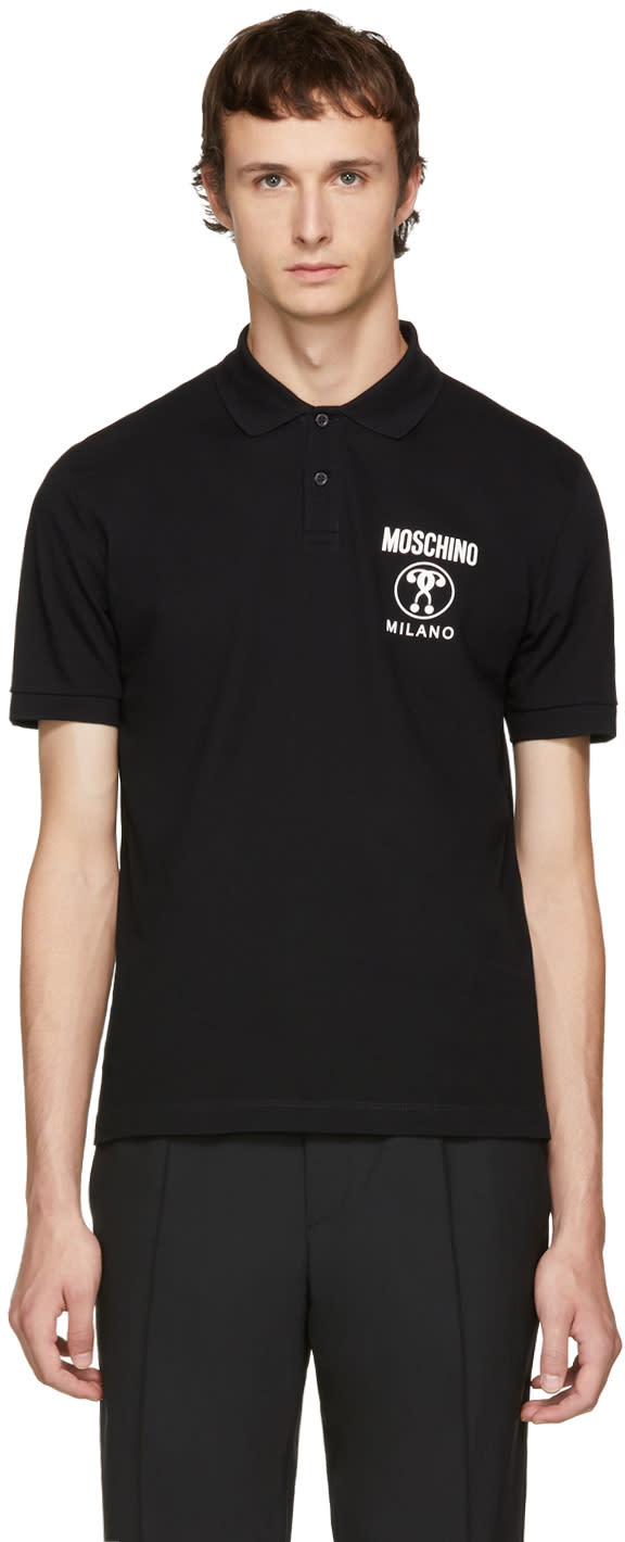 Image of Moschino Black Logo Polo