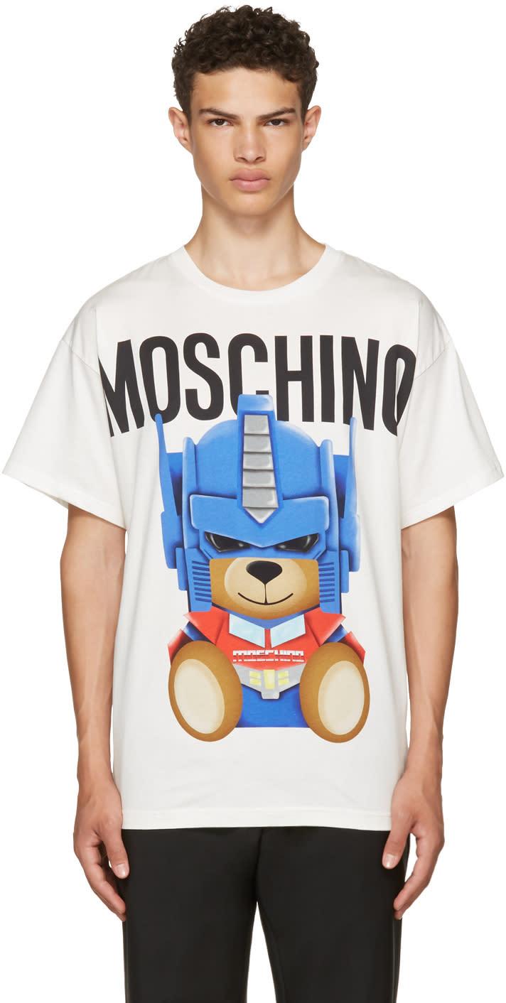 Moschino ホワイト トランスフォーマーズ テディ ロゴ T シャツ