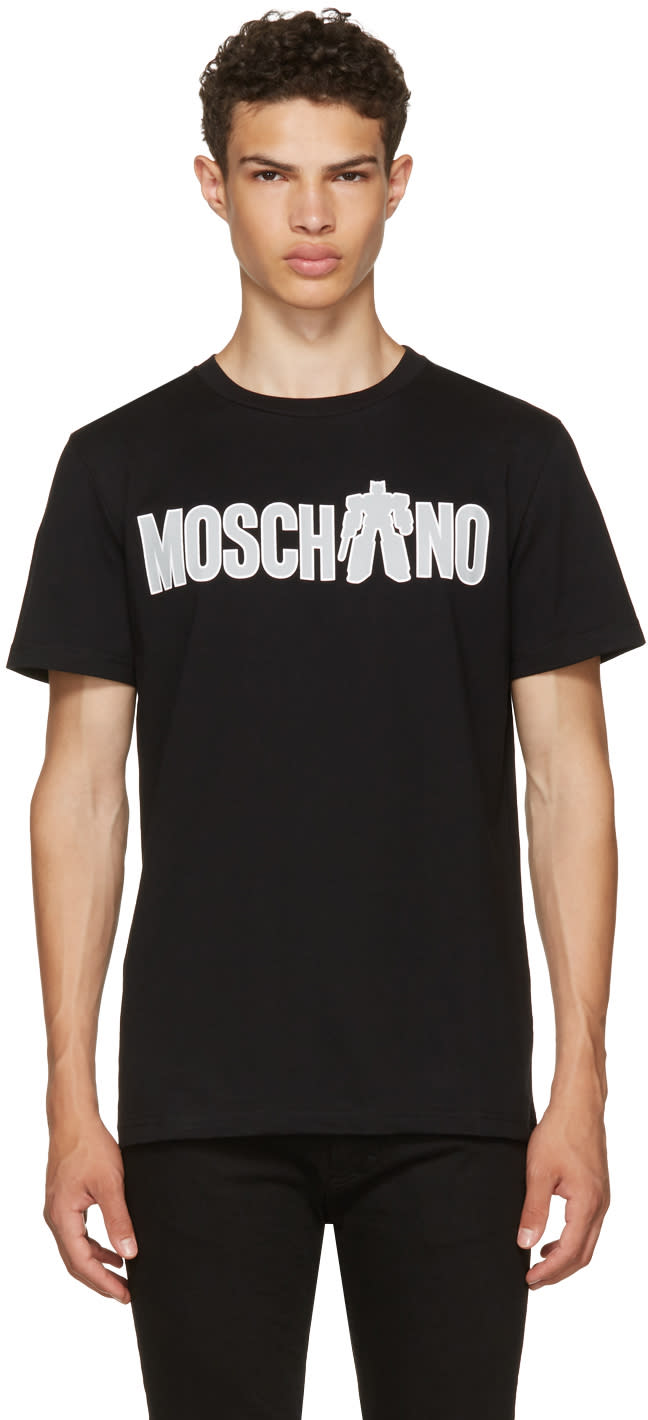 Image of Moschino Black Transformers Logo T-shirt