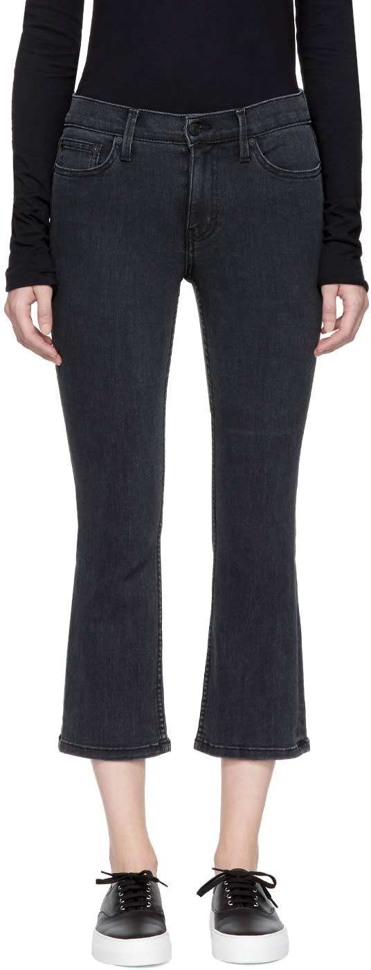 Image of Earnest Sewn Black Melody Cropped Flare Jeans