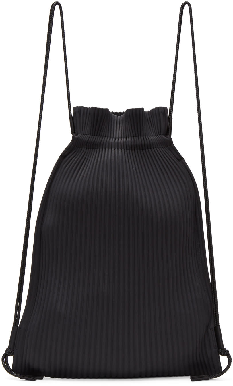Image of Homme Plissé Issey Miyake Black Faux-leather Pleats Backpack