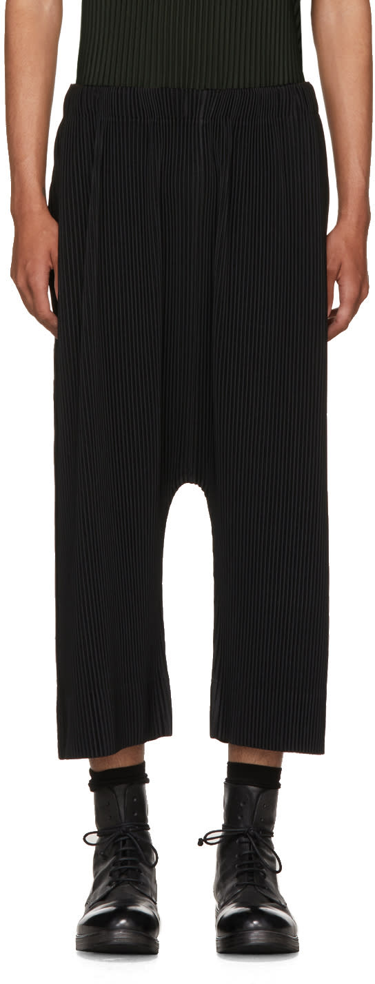 Image of Homme Plissé Issey Miyake Black Side Leg Drop Trousers