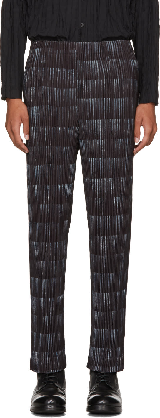 Image of Homme Plissé Issey Miyake Black Tailored Printed Trousers