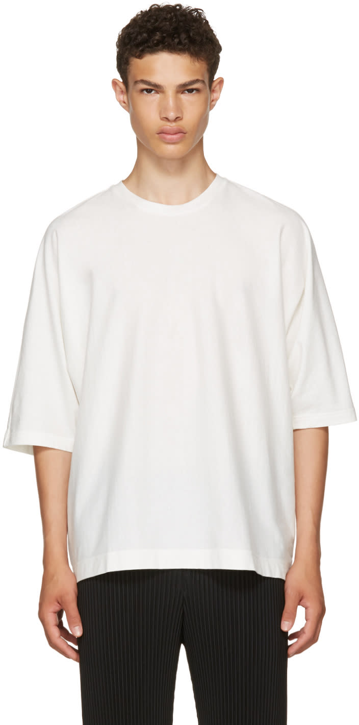 Homme Plissé Issey Miyake ホワイト リリース T シャツ