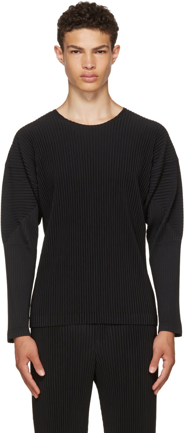 Image of Homme Plissé Issey Miyake Black Long Sleeve Classic Pleats T-shirt