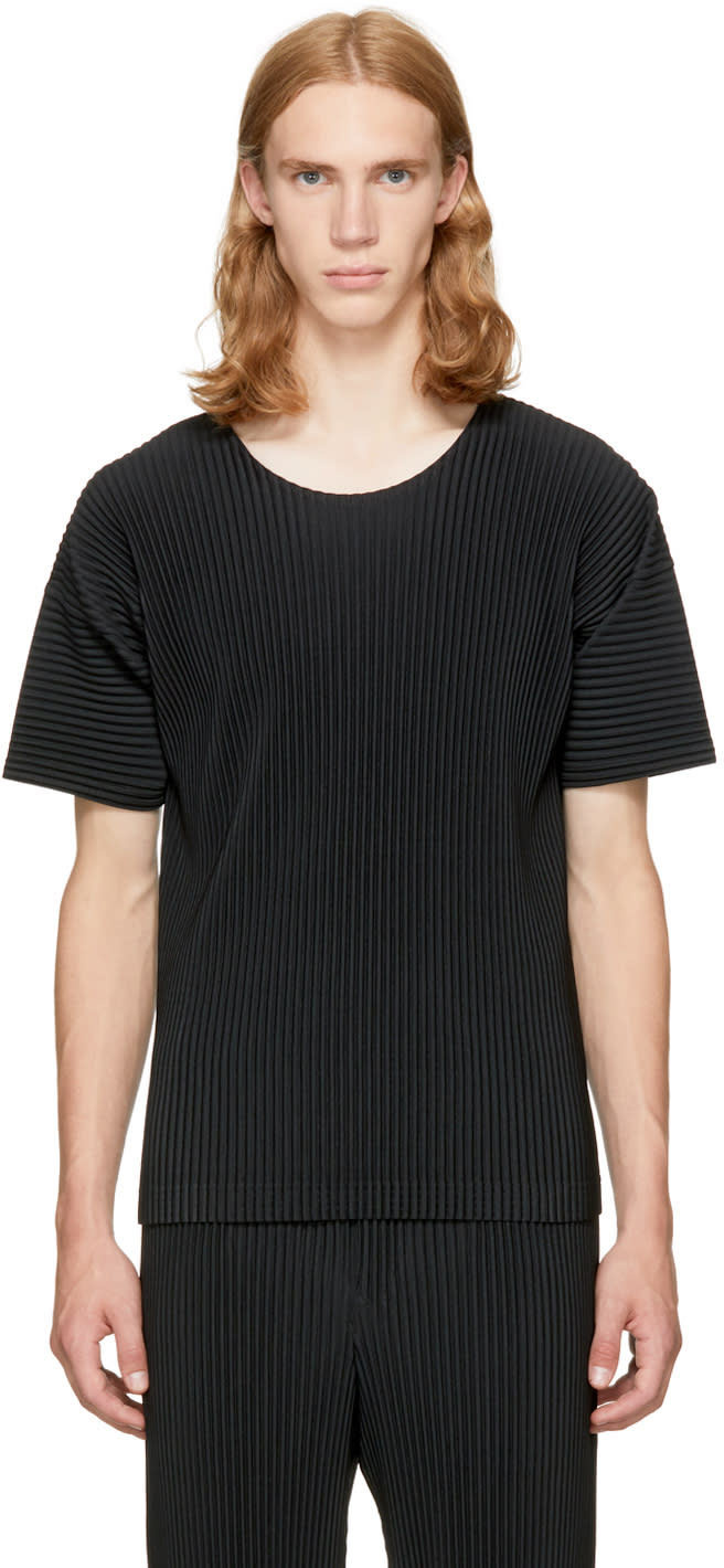 Image of Homme Plissé Issey Miyake Black Classic Pleats Basic T-shirt