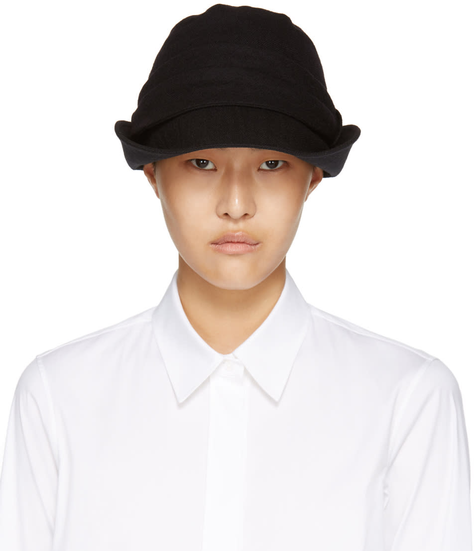 Image of Ys Black Brim Fold Cloche Hat
