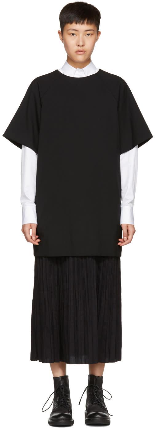 Ys Black Long K-bottom Pleats Dress