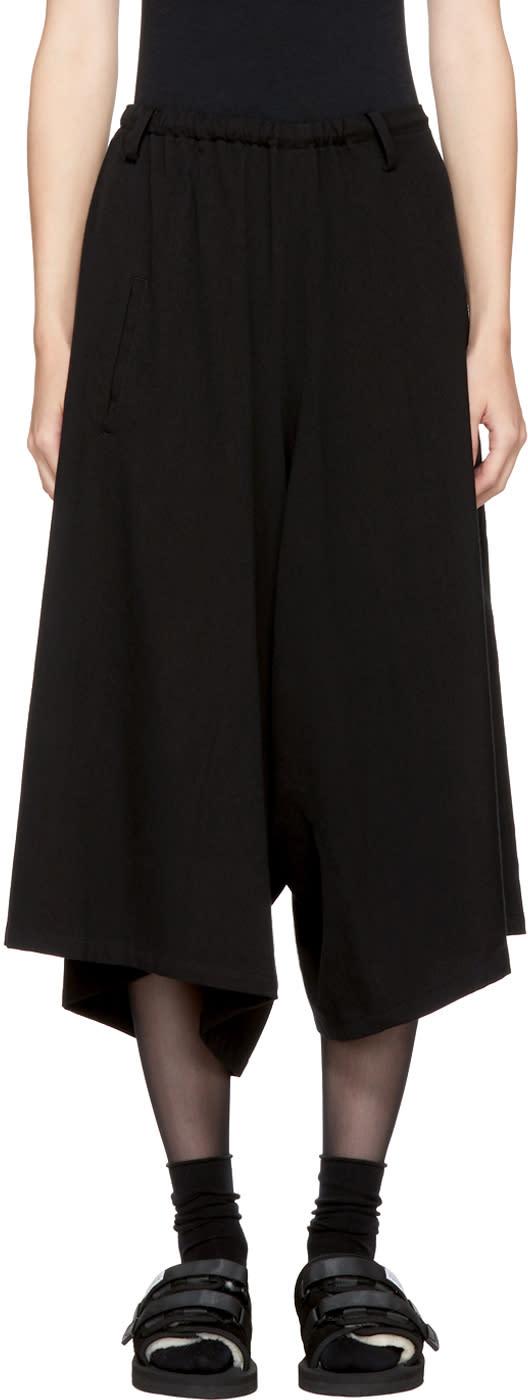 Image of Ys Black Asymmetry Strap Trousers