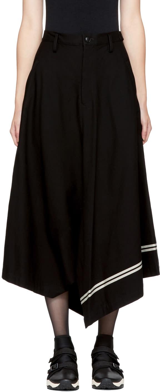 Image of Ys Black Asymmetric Striped Skirt
