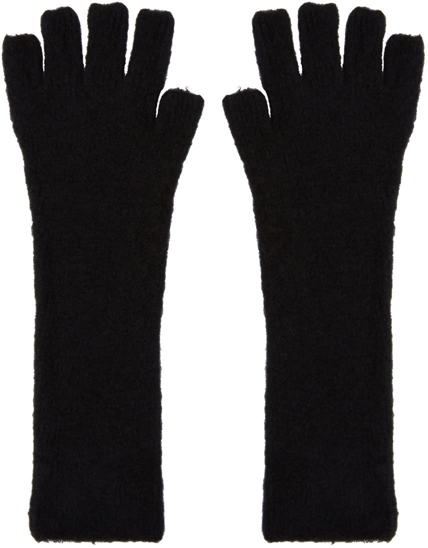 Image of Isabel Benenato Black Knit Gloves