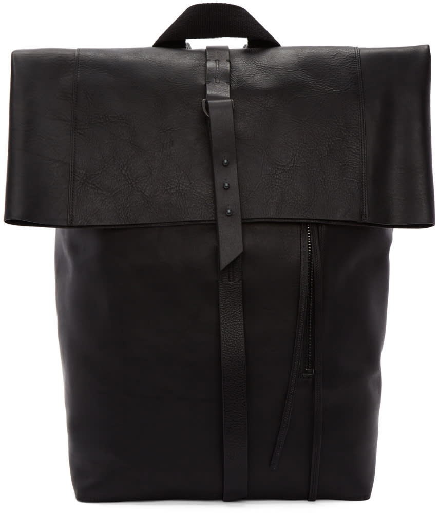 Image of Isabel Benenato Black Leather Backpack
