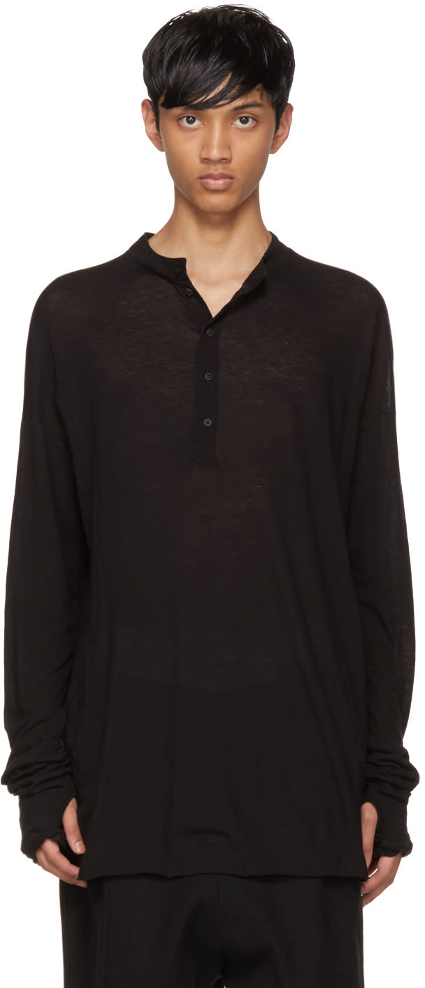 Image of Isabel Benenato Black Long Sleeve Henley