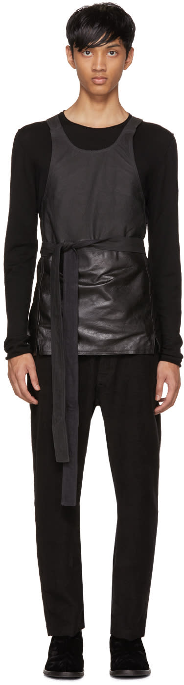 Image of Isabel Benenato Black Leather Apron Top