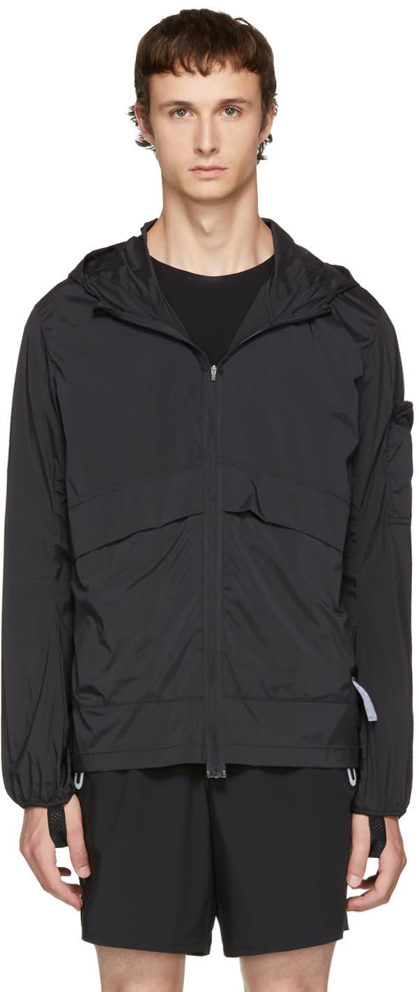 Image of Satisfy Black Packable run Away Windbreaker Jacket