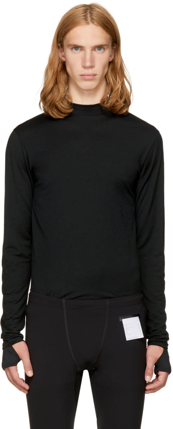 Image of Satisfy Black Long Sleeve Merino T-shirt