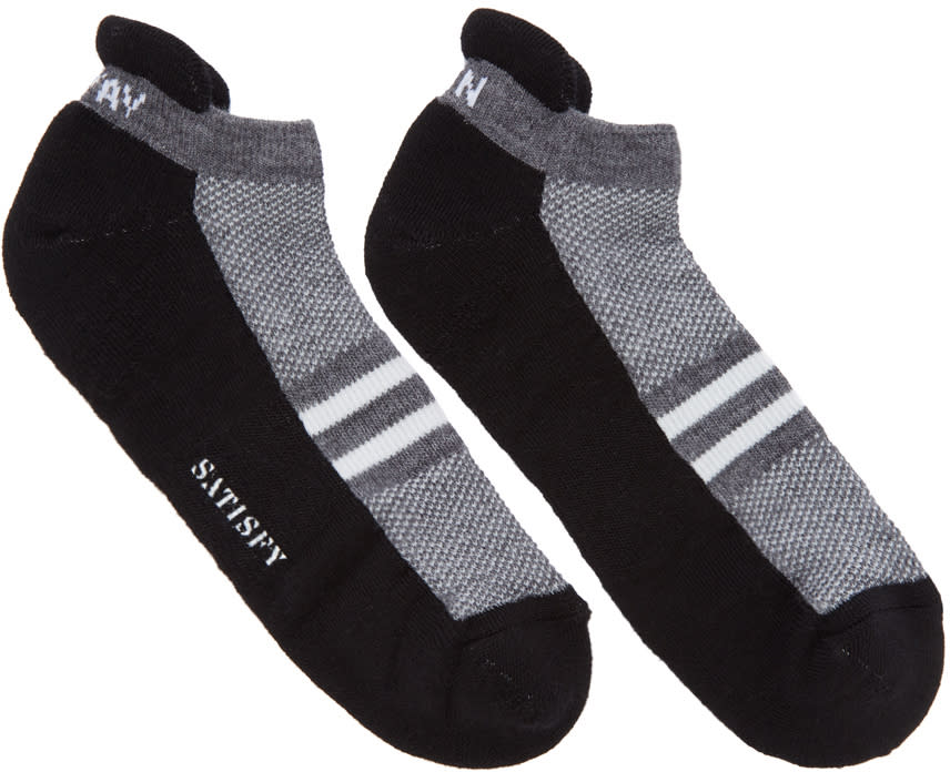 Image of Satisfy Black and Grey Patchwork Low Socks