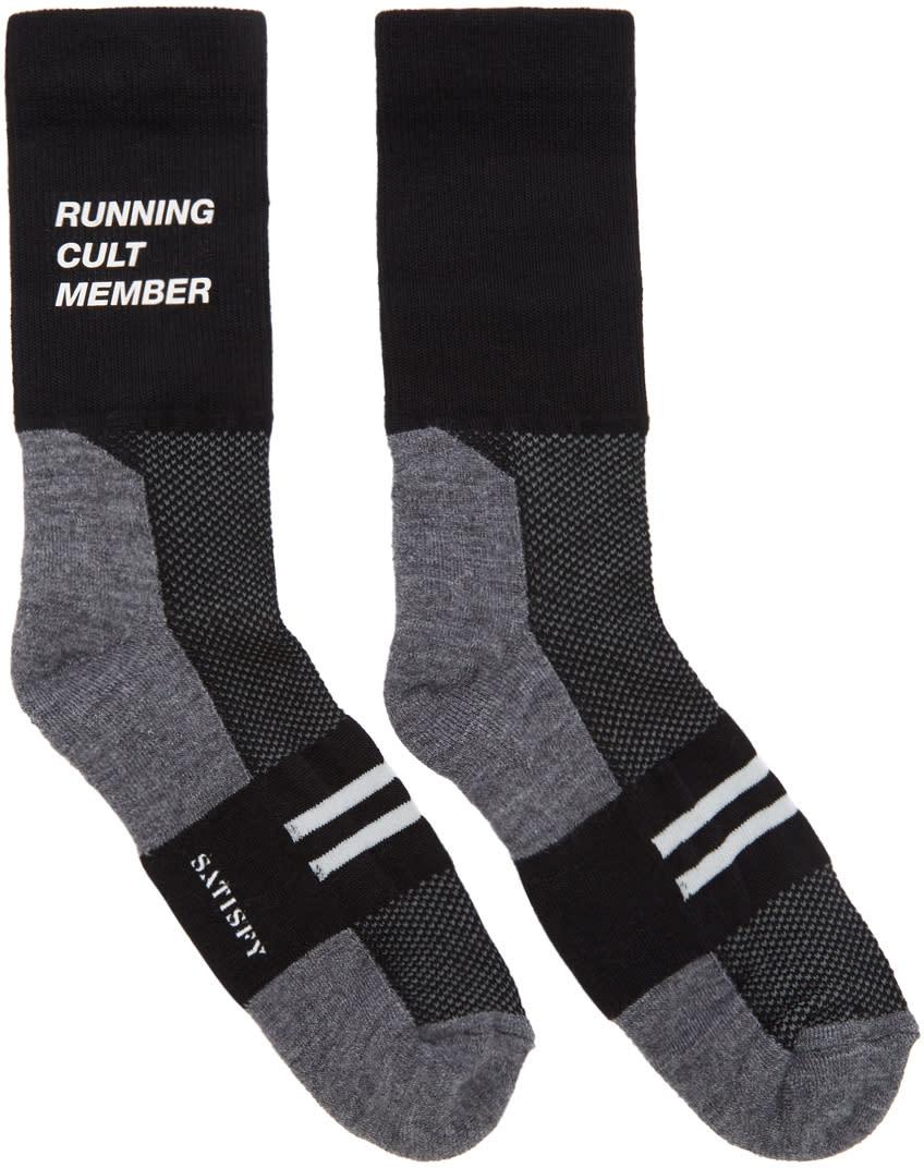 Image of Satisfy Black and Grey Patchwork Tube Socks