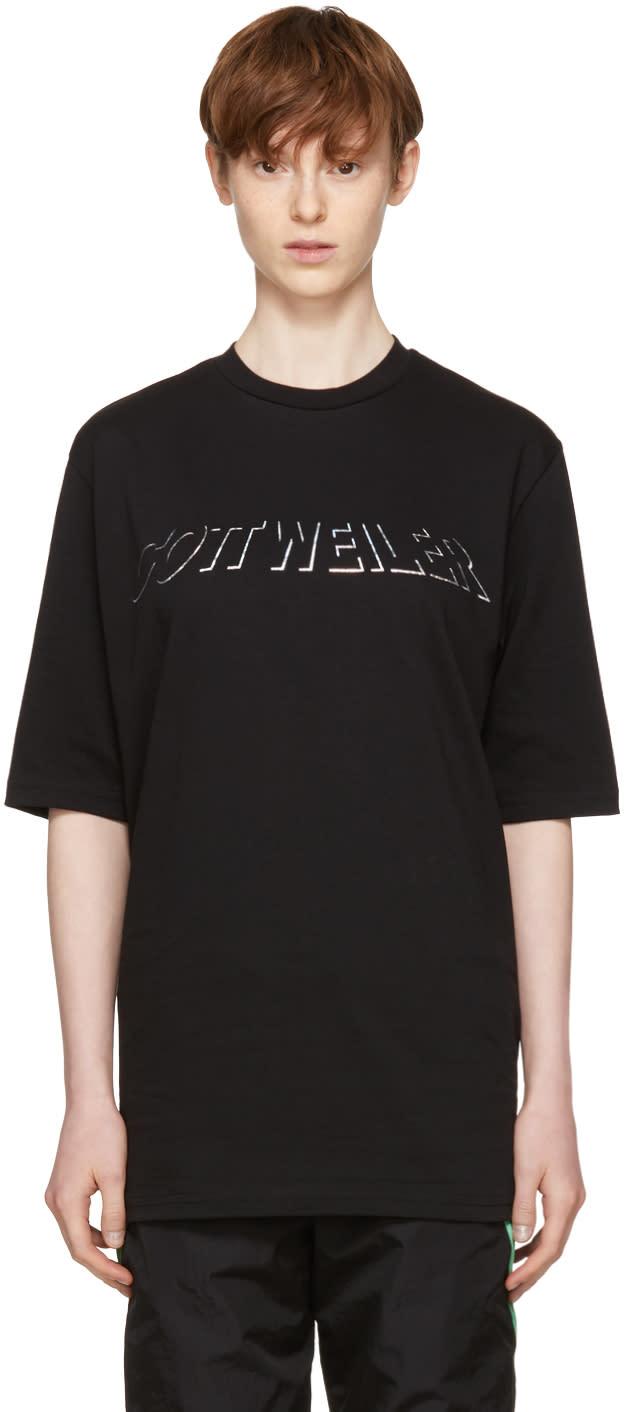 Image of Cottweiler Black Holographic Logo T-shirt